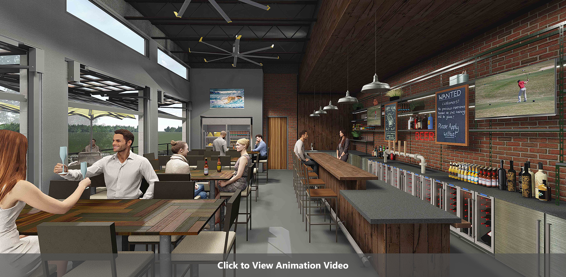 Icehouse Bar Interior Rendering