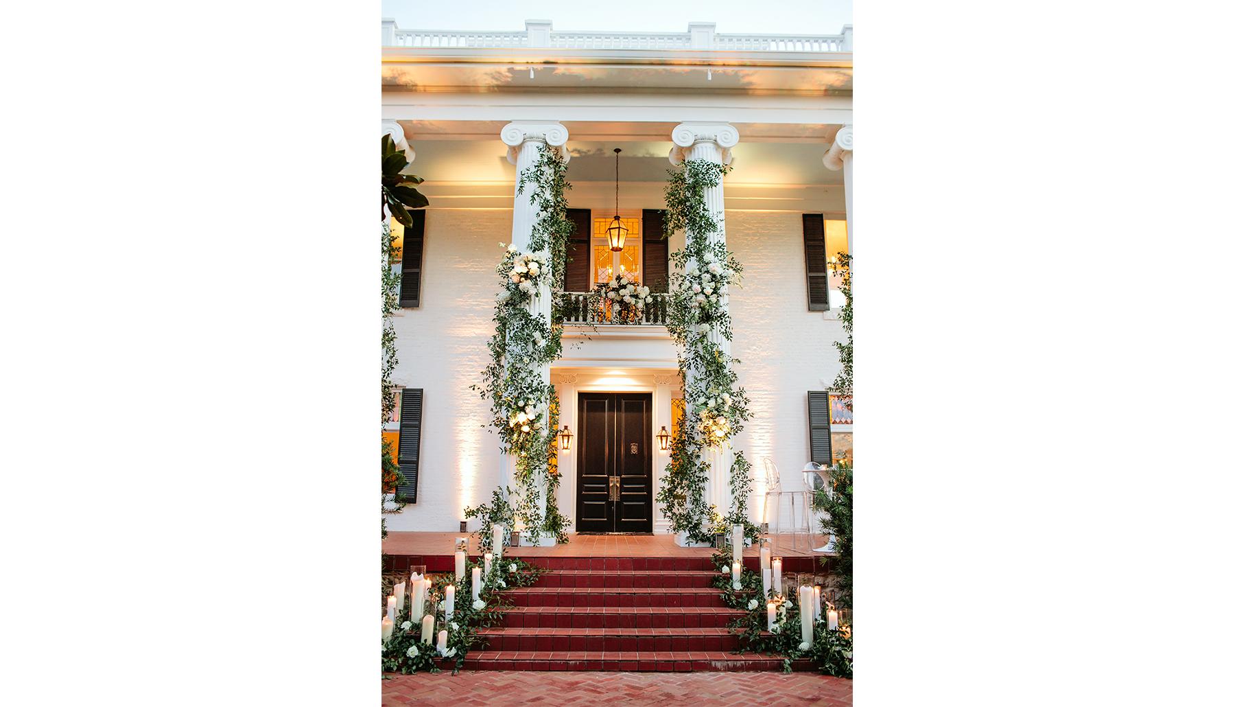 Woodbine Mansion Entrance Twilight