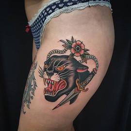 • Colour time. #panther on Giorgia's leg