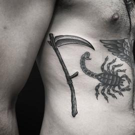 • Freehand #scythe on my bro @sine513 .