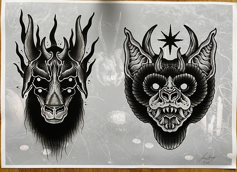 GOAT AND BAT A4 PRINTS