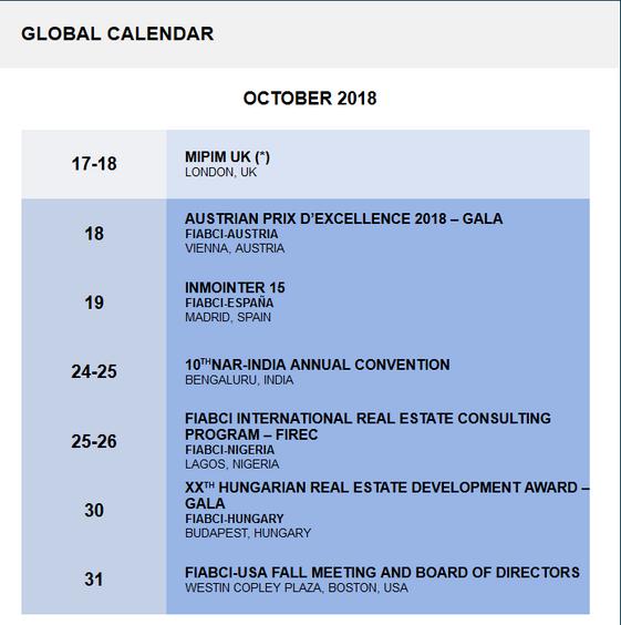 Глобальний Календар FIABCI на IV квартал 2018 року.