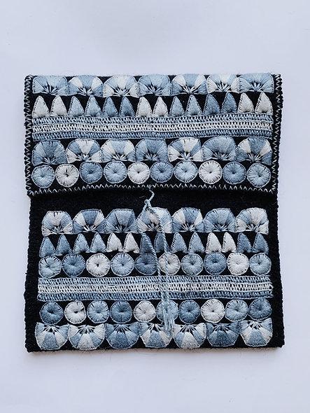 Morral de Lana Chamula bordado negro - azul