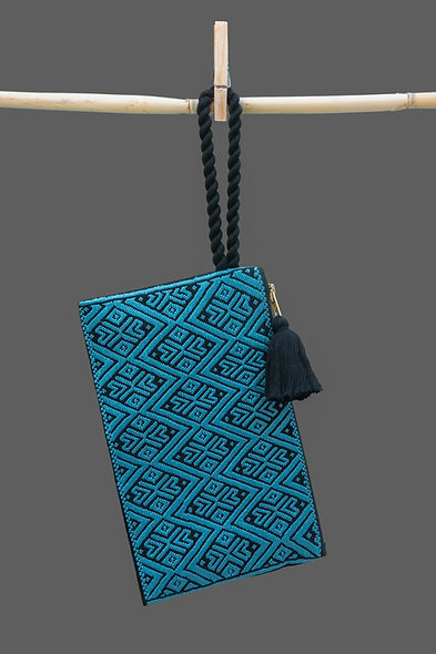 Bolsa Clutch azul - negro
