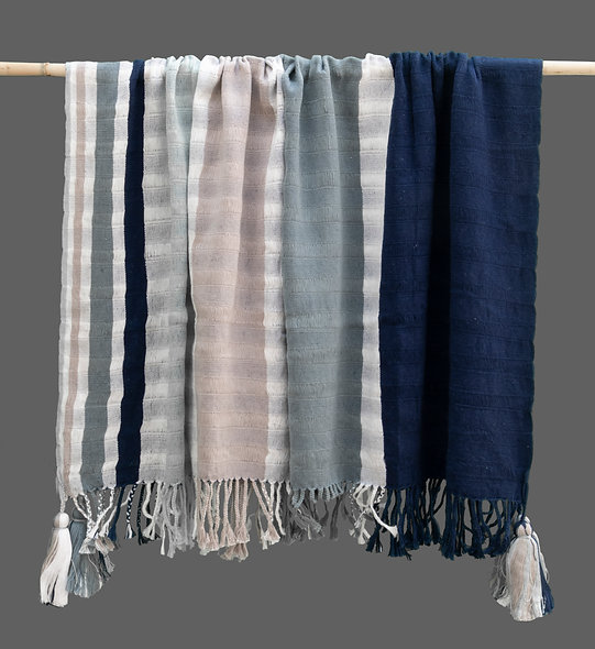Pañoleta Telar de Cintura azul-gris