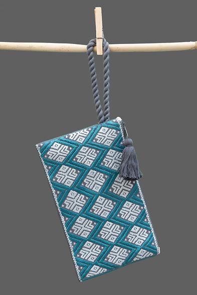 Bolsa Clutch azul - gris