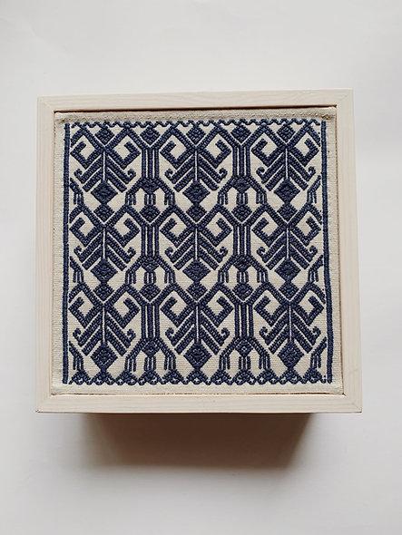 Caja de té telar brocado azul