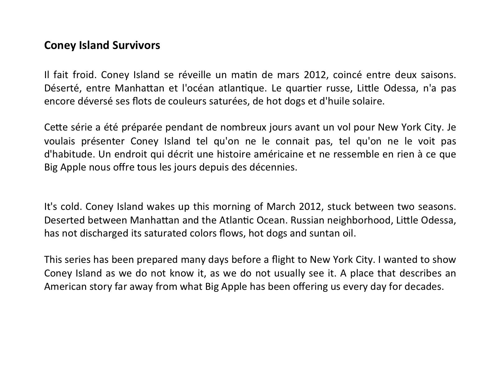 Intro Coney Island Survivors