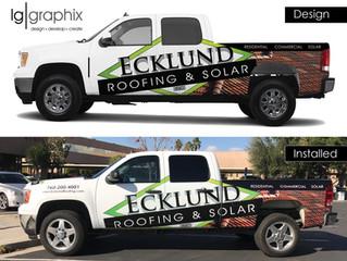Vehicle Wrap - Ecklund Roofing & Solar
