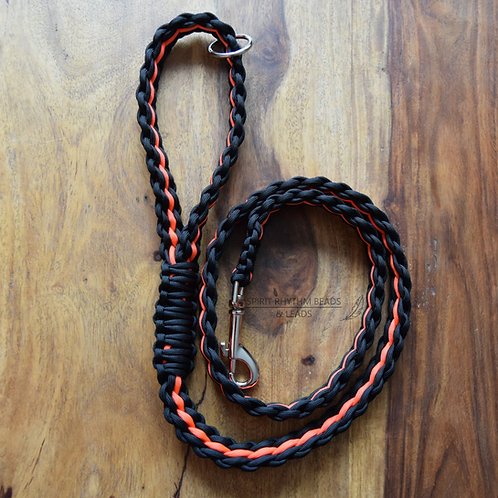 Woven Stripe Paracord Dog Lead Range - Black with Neon Orange