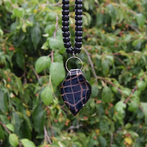 Black/Gold Drop Lampwork Pendant