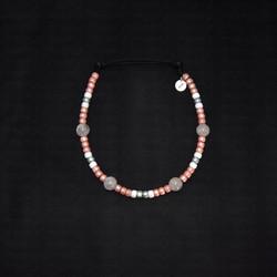 rose quartz beaded dog necklace