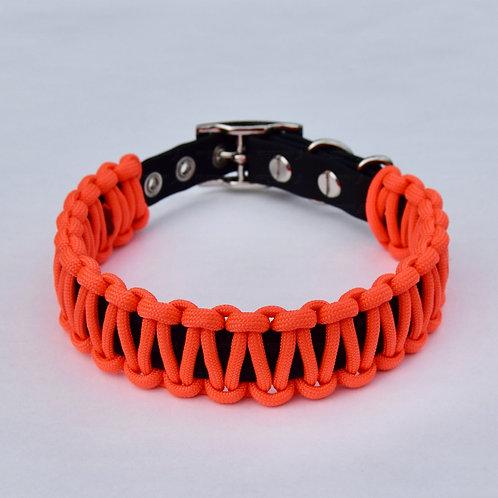 NEON ORANGE Paracord Wrapped Biothane Dog Collar - S, M, L, XL, XXL, XXXL