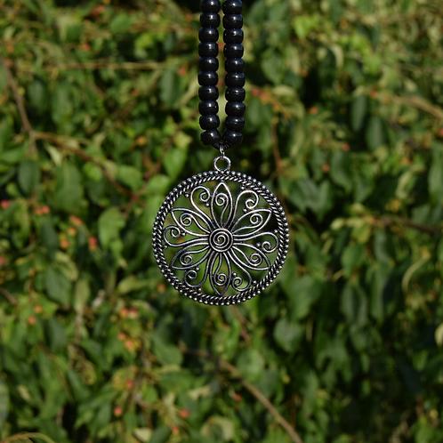 Tibetan Silver Metal Round Filigree Flower Pendant