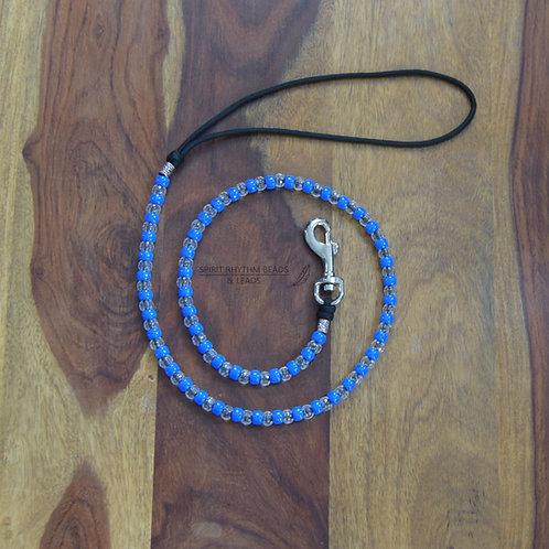 Beaded Dog Lead Range - Neon Blue/Clear