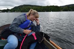 dog on boat pink hi vis paracord