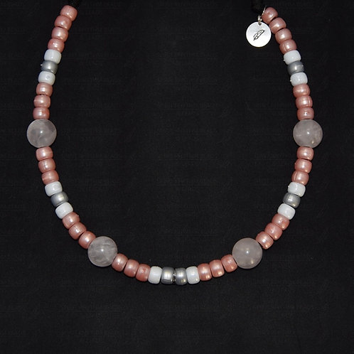 'ROSE' Beaded Dog Necklace with Rose Quartz - Calming/Anxiety Easing