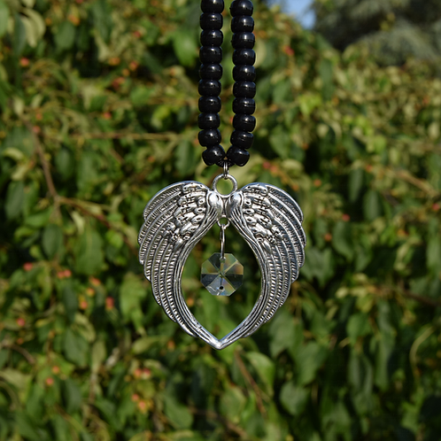 Tibetan Silver Metal Heart Wings Pendant with Hanging Crystal