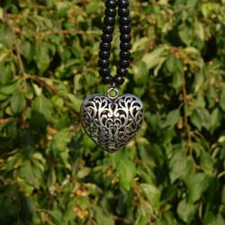 large puffed heart Tibetan silver pendant for rhythm beads