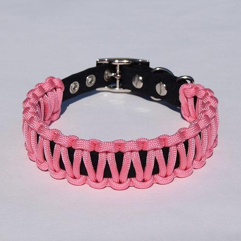 BABY PINK Paracord Wrapped Biothane Dog Collar - S, M, L, XL, XXL, XXXL Dogs