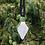 Thumbnail: White/Silver Shield Lampwork Pendant