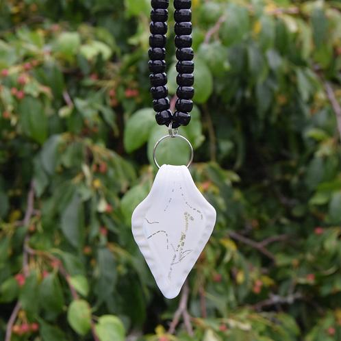 White/Silver Shield Lampwork Pendant