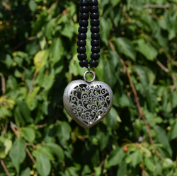 hollow heart Tibetan silver pendant for rhythm beads
