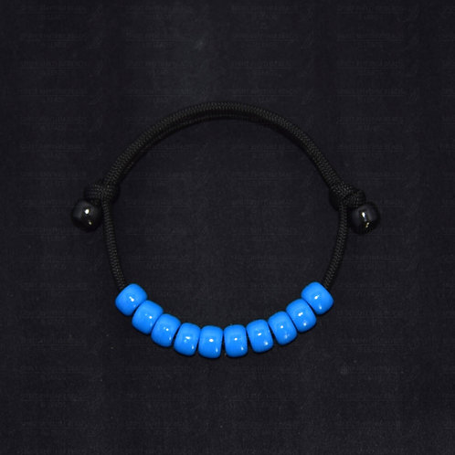 ECONOMY BLUE Adjustable Beaded Bracelet - Calming/Connecting