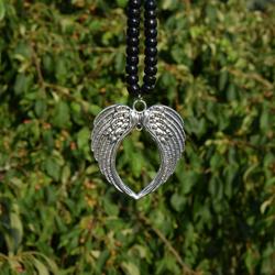 heart angel wings Tibetan silver pendant for rhythm beads