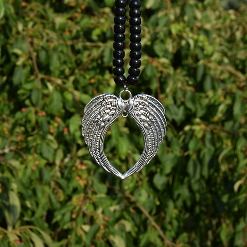 Tibetan Silver Metal Heart Wings Pendant
