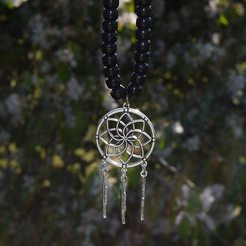 Tibetan Silver Dreamcatcher Pendant
