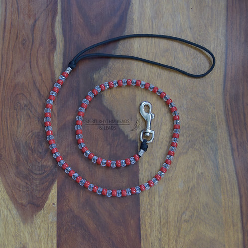 Beaded Dog Lead Range - Red/Clear