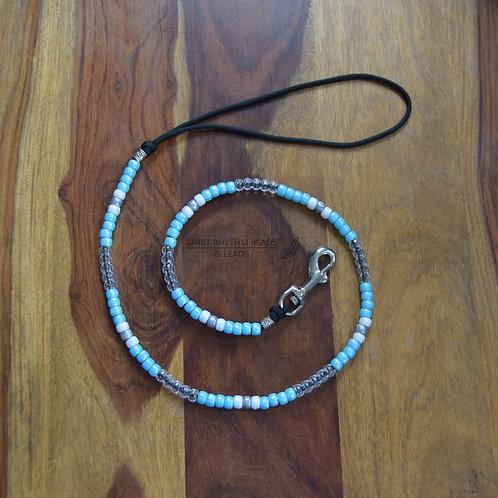 Beaded Dog Lead Range - Blue/White/Silver/Clear