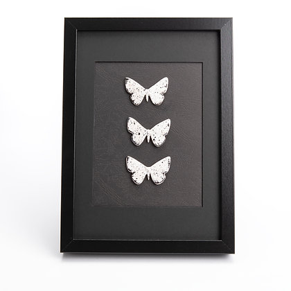 Large Framed Moonlight Moth Trio