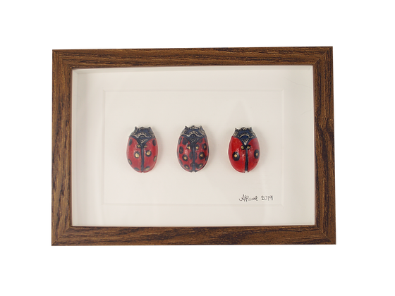 Framed Ladybird Trio