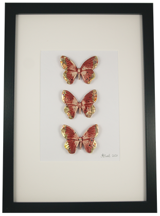Large Framed Ruby Butterflies