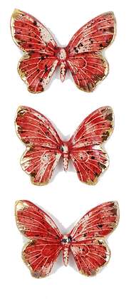 Ruby Hanging Butterfly Trio