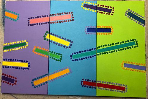 """Confetti.  (Triptych. 20 x 30"""" acrylic on canvas.)"""