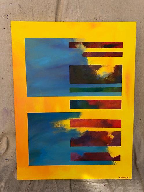 """Dual Turbulence.   (30 x 40"""" acrylic on canvas.)"""