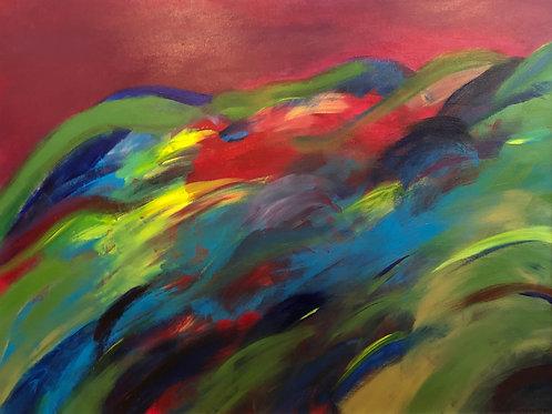 """The Rush   (30 x 40"""" Acrylic on canvas.)"""