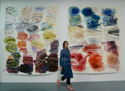 Exhibition view with artist