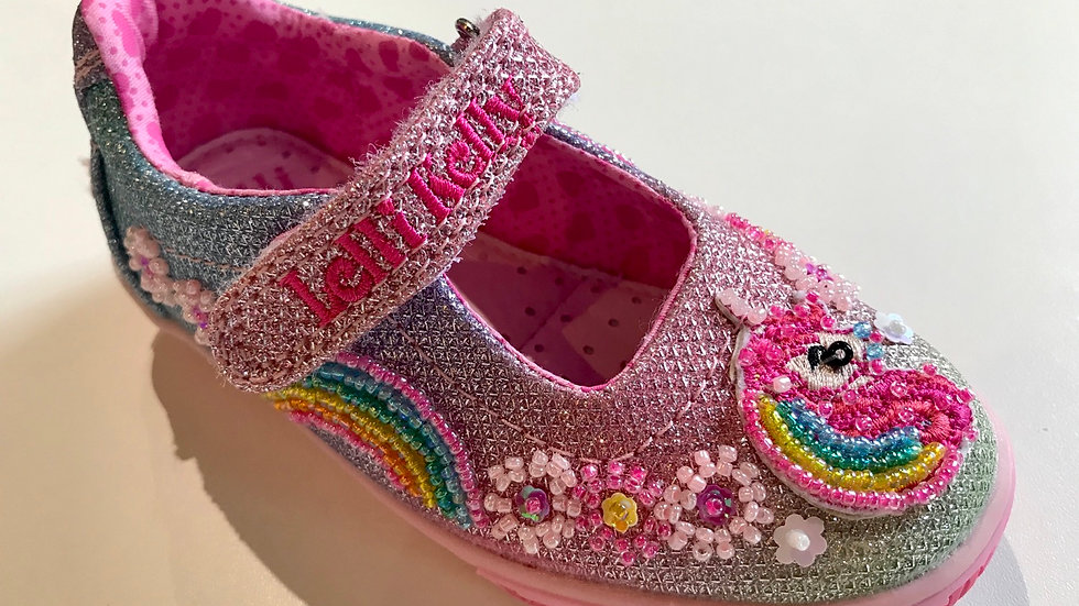Lelli Kelly Rainbow Unicorn multi glitter dolly shoes LK1082  Sizes 23-34