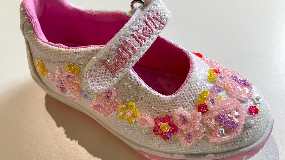 Lelli Kelly Leda White Glitter Swan Dolly shoes LK1074  Sizes 23-34