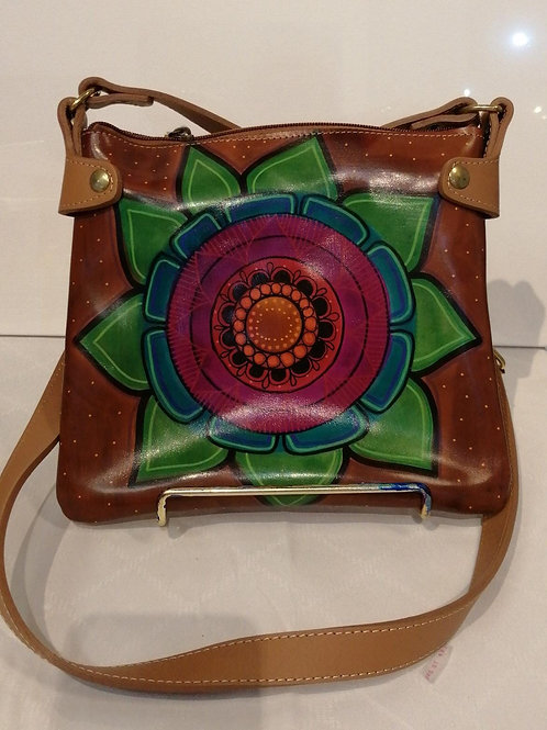 Hand-painted Leather Saddle Bag (1 flower)