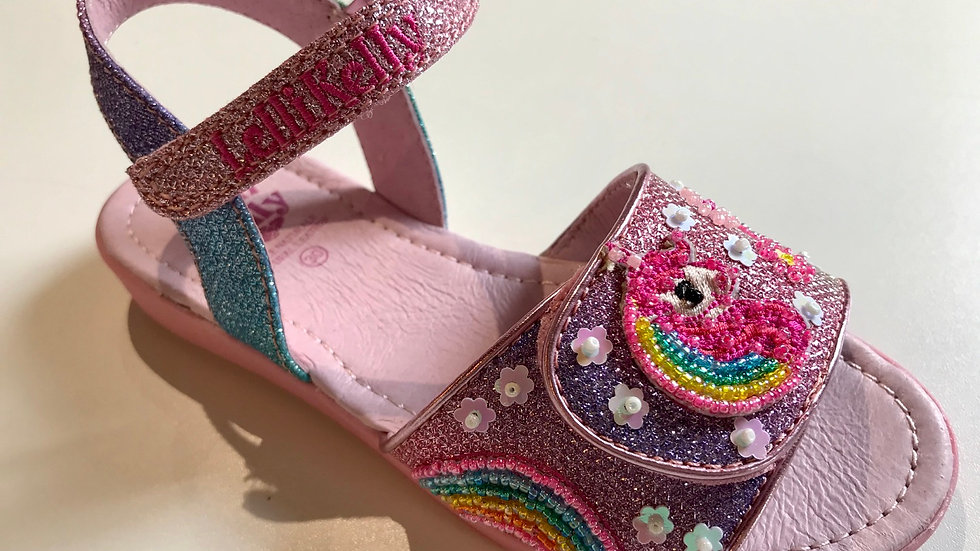 Lelli Kelly Unicorn multi glitter adjustable sandals LK1402  Sizes 26-35