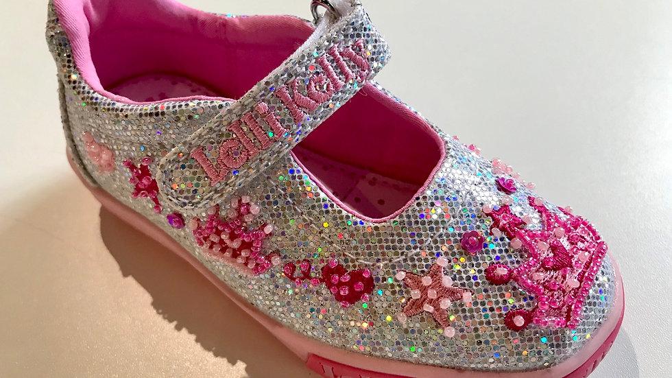Lelli Kelly Tiara silver glitter dolly shoe LK1078  Sizes 24-35
