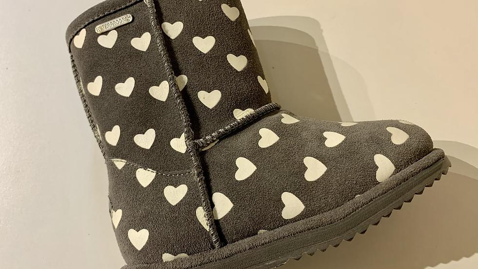 EMU Brumby kids heart waterproof sheepskin boots in grey K11829