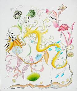 Snakes between flowers