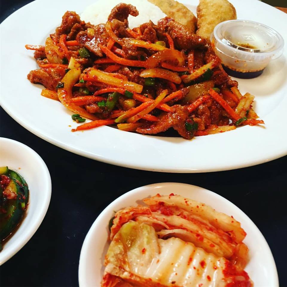 Spicy Pork with Kimchi Sides