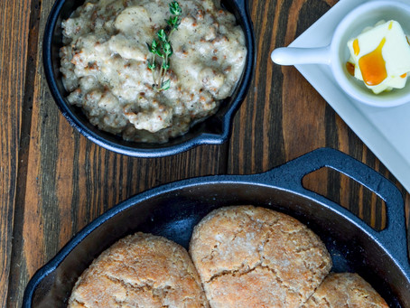 SOUTHERN BISCUITS AND SMOKY VENISON SAUSAGE GRAVY